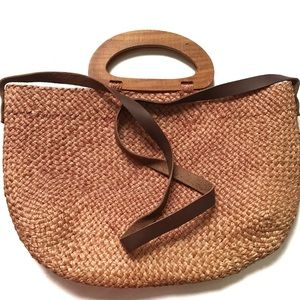 Woven Straw Tote Cross Body Bag w/ Wood Handles
